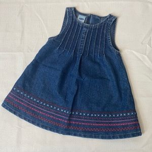 Old Navy Denim Dress with Pink/Red Detail - 3/6M